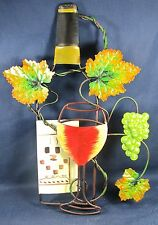 Wine Bottle and Glass with Grape Leaves metal wall decor