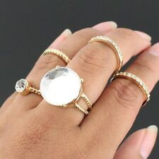 Gold and Crystal Knuckle Ring Set