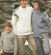 """Family Aran Easy Knit Sweater Knitting Pattern 24-44"""" Girls Boys Men Women 830"""