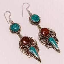 VINTAGE ANTIQUE HANDMADE EARRINGS NATURAL TIBETAN TURQUOISE,CORAL 20 GRAMS