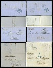 SPAIN 1857 LETTERS to CADIZ from LONDON + LIVERPOOL to JOSE BENSUSAN...4 ITEMS
