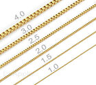One Day Ship 18K Gold Plated Mens Womens Stainless Steel Box Chains Necklaces