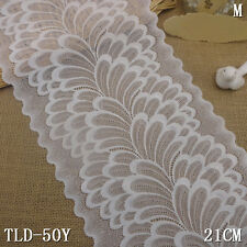 1 Yard White Floral Scalloped Stretch Lace Trim For DIY Craft Lingerie Wide 8""