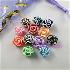 25Pcs Mixed Polymer Fimo Clay Flower Spacer Beads Charms 10mm