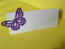 50 Cadbury's purple butterfly wedding place name cards with gem