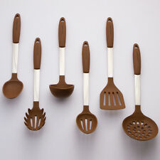 Brown Cooking Utensil Set - Stainless Steel & Silicone Heat Resistant Kitchen