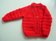 BABY  HAND KNITTED CARDIGAN, RED, 0-3 MONTHS, LONG SLEEVE, NEW