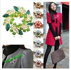 1 Pc Fashion Ladies Rhinestone Crystal Alloy Flower Bouquet Brooch Pin 8 Colors