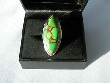 LOT 451 LARGE MARQUISE GREEN COPPER TURQUOISE SOLID STERLING SILVER RING SIZE J