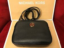 NWT MICHAEL KORS FULTON PEBBLED LEATHER SMALL CROSSBODY BAG IN BLACK