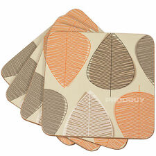Set of 4 Beige Orange & Brown Leaf Drinks Desk Coasters Coffee Table Dining Home