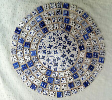 BLUE AND WHITE FLORAL FLOWERS HAND MADE  PAINTED / CUT DECORATIVE MOSAIC TILES
