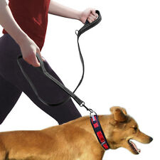 Black Reflective Safety Nylon Dog Traffic Leash Lead with 2 Padded Handle