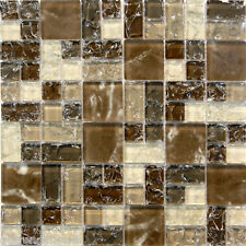 Natural Brown Crackle Pattern Glass Mosaic Tile Sample~ Kitchen Backsplash Wall