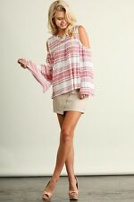 UMGEE BLUSH Stripe Cold/Open Shoulder Bell Sleeves Tunic/Top/Blouse M SASSY SKY
