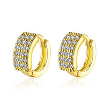 Luxury 18 k Gold Plated Zircons Women Girls Small Hoops First Earrings E1020