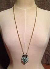 Target Jewelry Goldtone Seafoam Green Owl Pendant -Black Eyes, Crystals Necklace