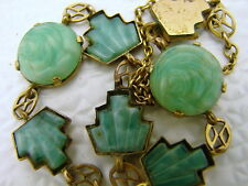 Chinese Art Deco Gold Plated Necklace with Carved Jade or Hard Stone Cabochon