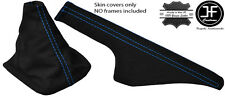 BLUE STITCH SUEDE FITS VW GOLF MK4 4 IV BORA 98-05 GEAR + HANDBRAKE GAITERS