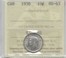 **1938**, ICCS  Graded Canadian,  10  Cent, **MS-63**