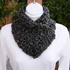 NECK WARMER SCARF Black Gray Grey Tweed Thick Soft Buttoned Winter Cowl, Buttons