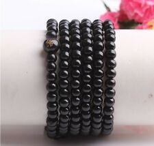 new Tibetan Buddhist 216wood Prayer Bead Mala Necklace Bracelet Jewelry Black