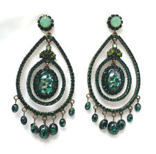 Butler and Wilson Green Cabochon & Crystal Large Gala  Earrings Vintage NEW