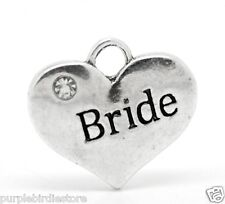 Silver BRIDE Word Heart Charms 16mm 6 Pieces Wedding Party