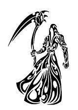 Haut détail tribal grim reaper airbrush stencil-gratuit uk livraison