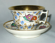 ANCIENNE TASSE LITRON THE CAFE EN PORCELAINE DE PARIS 1860 DECOR DE PAPILLON XIX