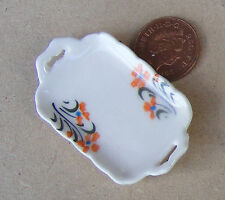 1:12 singolo vassoio in ceramica con un motivo arancione DOLL HOUSE miniatura Accessorio O15