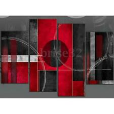 4Pcs Abstract Canvas Modern Home Decor Wall Art Oil Painting Pictures Red Black