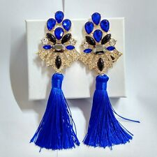 ANTHROPOLOGIE MOST AMAZING BLUE STONES TASSELS 5,5'' DROP DANGLE EARRINGS NEW