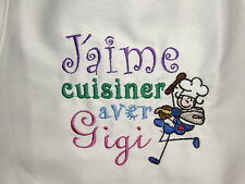Free personalizing CUTE! mach embroid kids apron...Cookin' with...Your choice.