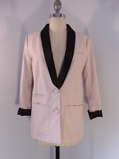 CHIC H&M LIGHT TAUPE W/ BLACK COLLAR TUXEDO JACKET BLAZER MINT COND. SIZE 10 US
