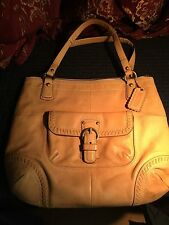 COACH 19018 POPPY VACHETTA NATURAL LEATHER WHIPSTITCH GLAM LARGE TOTE BAG