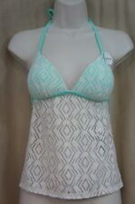 Hula Honey Tankini Top Sz S Seafoam Multi Crochet Push Up Bikini Swim AB861T981