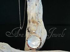 Original Sterlina Milano necklace/pendant Pearl coin/moneda 45cm Oro Rosa ajmm