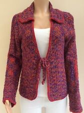 Laura d. Red Blue Purple Tweed Knit Cardigan Jacket Size M 10 - 12    JK40