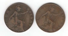 "1912 and1919 HEATON MINT ""H"" ONE PENNY PIECES"
