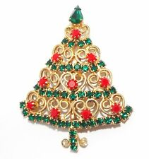 Vintage rhinestone CHRISTMAS Tree BROOCH pin Costume jewelry scroll hearts
