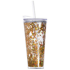 Slant Collection 22oz Gold Confetti Double Wall Tumbler Hot/Cold Lid and Straw
