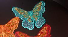 Teal butterfly sequin embroidery patch lace applique motif dress dance costume