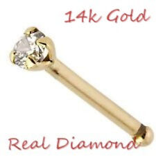 NEW-REAL DIAMOND SOLID 14k GOLD NOSE BONE -