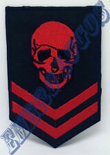 1061 Red Skull Head Rank Military Embroidered Iron Sew-on Patch