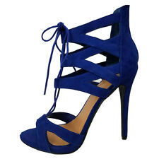 Blue Red Peep Toe Cut Out Corset Lace Up Stiletto Heel Dress Sandal Pump Heel