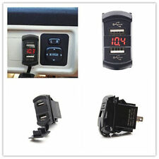 Car Vehicle Boat Dual USB Charger Port Jack Push Switch Style Voltmeter Red LED