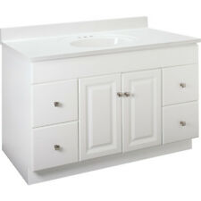 """New Bathroom Vanity Drawer Base Cabinet White Thermofoil 48"""" Wide x 21"""" Deep"""