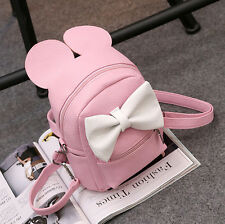 Womens Cute PU Leather Backpack Cute Red/White Bow Rucksack Travel Small Bags