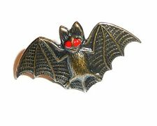 "Scary But Cute Bat Metal Button 1"" x 5/8""  Halloween Bat Button - Big Red Eyes"